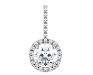 14kt White Gold Halo Pendant with DIamond Accents