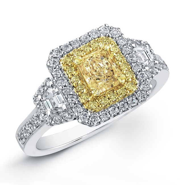 vintage double halo with fancy yellow center diamond enagement ring - Yellow Diamond Wedding Rings