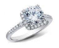 Classic Vintage Square Halo Engagement Ring With Round Brilliant Center Diamond