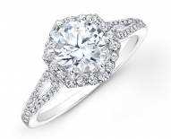 Petite Octagon Shaped Halo Engagement Ring With Looped Side Band